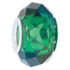 Ane Si Dora Sterling Silver Dark Green Crystal Charm