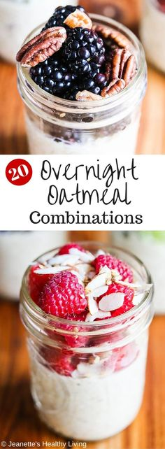 Twenty Healthy Overnight Oatmeal Recipe Combinations - these no-cook oatmeal in mason jars are a quick, healthy grab-and-go breakfast. Make a batch for the week and use any of these 20 recipe combinations. Nutrition facts included in this post. ~ http://jeanetteshealthyliving.com
