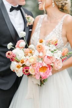 Colorful and Whimsical Wedding at Estancia La Jolla on 100 Layer Cake Pink peach violet and white bridal bouquet, Wedding at Estancia La Jolla, Cavin Elizabeth Photography Cascading Bridal Bouquets, Bridal Flowers, Wedding Bouquets, Whimsical Wedding Flowers, Peach Bouquet, Bridal Bouquet Pink, Lace Wedding Dress, Floral Wedding, Wedding Dresses
