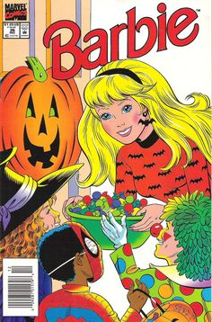 Barbie Vol 1 1993 Published by Marvel Comics, cover art by Cool and Jeff love the cute trick-or-treaters, especially Spiderman, since Barbie was published by Marvel! Barbie Halloween, Halloween Books, Vintage Halloween, Halloween Labels, Vintage Witch, Halloween Halloween, Halloween Pumpkins, Halloween Makeup, Halloween Costumes