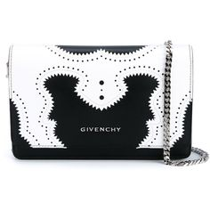 Givenchy Pandora Brogue Leather Chain Shoulder Bag (€900) ❤ liked on Polyvore featuring bags, handbags, shoulder bags, leather purse, over the shoulder handbags, leather shoulder handbags, leather shoulder bag and over the shoulder bags