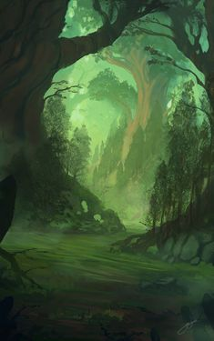 (Open ro) Slowly and gently Anish walked along the mossy floor and Angus followed behind her growling warning of any threats