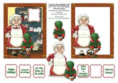 Cook & Holiday Elf - 4.5 x 5.5 A2 Size Decoupage Card Topper For USA, Canada etc. - PU 300 DPI by DigitalHeaven on Etsy
