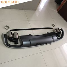 GOLFLIATH S4 Style Rear Diffuser Lip Kit Bumper Skid Plate End Pipe Muffler Tip For Audi A4 B9 2016 2017 4-door Sedan