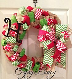 bubble burlap christmas wreath chevron by OOPSYDAISYDESIGNS, $55.00