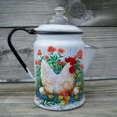 Antique Coffee Pot Glass Dome HP Hen Eggs Country Rooster HandPainted T. McMurry