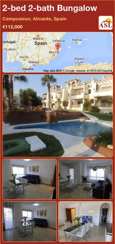 Bungalow for Sale in Campoamor, Alicante, Spain with 2 bedrooms, 1 bathroom - A Spanish Life Murcia, Valencia, Built In Robes, Small Terrace, Bungalows For Sale, Alicante Spain, Great View, Ground Floor, Modern Furniture