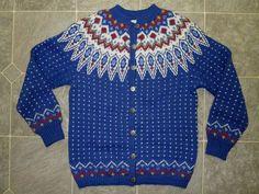Laboutique Sweater Hand Knitted Norway Womens Cardigan Medium Peergynt Blue | eBay