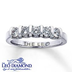 A diamond ring symbolizes lasting love. This anniversary band features five round Leo Diamonds beautifully set in 14K white gold. With a total diamond weight of 5/8 carat, this fine jewelry ring features independently certified diamonds, and the unique laser-inscribed Gemscribe® serial number ensures your peace of mind. The inside of the band features a round diamond within the Leo signature.