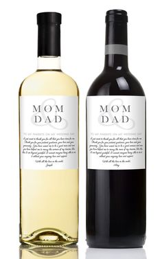 Gifts for Parents of Bride and Groom - Wedding Wine Label for Parents - Custom Wine Labels - Set of 2