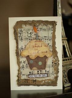 Original, handcrafted Birthday card has a cupcake design with the words You Take the Cake at the bottom. The cupcake has a brown base with beige