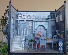 1:24 Kitchen made from cardboard and printies - The Netherlands