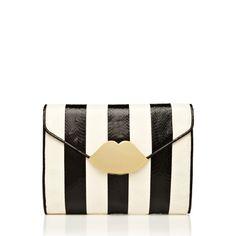 lulu guinness : Black and White Stripe Snakeskin Small Envelope Clutch | Sumally