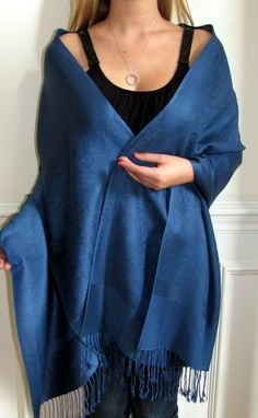 Midnight blue silk pashmina shawls a must have for women of all ages - a lovely woman's shawl color - universal appeal for all seasons. I love midnight blue a favorite of mine.