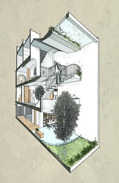 Home Design Drawing Backyard House / AD studio - Image 38 of 39 from gallery of Backyard House / AD studio. Concept Architecture, Architecture Design, Landscape Architecture Drawing, Classical Architecture, Compact House, Backyard House, Narrow House, House Layouts, Tropical Houses