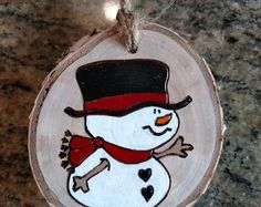 Snowman Wood Burned Ornament -- white birch wood, Christmas ornament