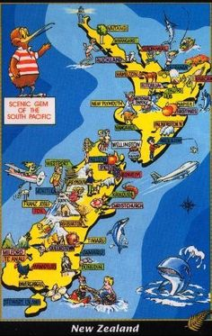 """""""New Zealand - Scenic Gem of the South Pacific"""" map postcard . illustrated with scenic highlights and national symbols, c. Pacific Map, South Pacific, Map Of New Zealand, Pictorial Maps, Tourist Map, State Of Arizona, National Symbols, Kiwiana, Travel Party"""