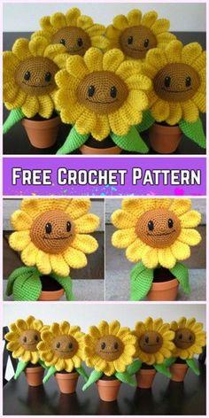 Crochet 3D Flower In Pot Free Crochet Pattern - Crochet Sunflower Amigurumi Free Pattern