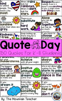 Quote of the Day for Elementary Students - Start your morning meeting right using this quote of the day pack! Messages Matinaux, Morning Messages, Capturing Kids Hearts, Morning Announcements, Classroom Quotes, Classroom Activities, Classroom Organization, Classroom Decor, Responsive Classroom