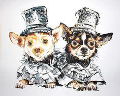 Anthony Rubio's dogs Bogie and Kimba by Artist Tibi Hegyesi   by Anthony Rubio Pet Fashion Designer