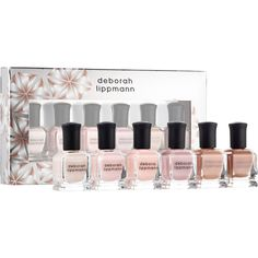 Deborah Lippmann Undressed Shades Of Nude Set ($34) ❤ liked on Polyvore featuring beauty products, nail care, nail polish, deborah lippmann nail color, deborah lippmann nail polish, deborah lippmann and shiny nail polish