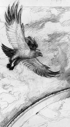 Sketch by Alan Lee - gandalf on eagle