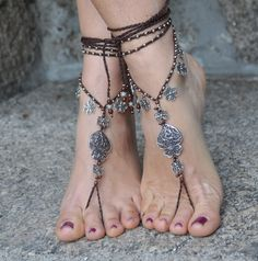 "Valentine's day ""Heart of viana"" BAREFOOT SANDALS dark BROWN foot jewelry hippie sandals crochet barefoot yoga sandals portuguese jewelry"
