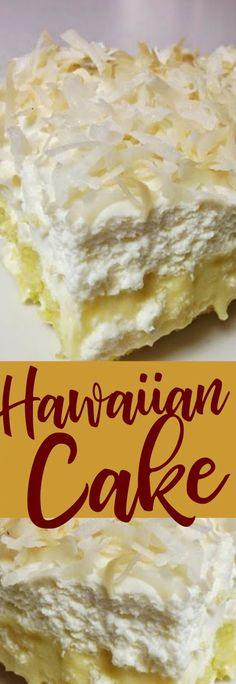 This recipe makes 2 Hawaiian cakes. Ingredients: 1 package yellow cake mix 2 packages oz each) Instant vanilla pudding mix 4 cups cold . Food Cakes, Cupcake Cakes, Cupcakes, Easy Desserts, Delicious Desserts, Cake Recipes, Dessert Recipes, Homemade Whipped Cream, Yellow Cake Mixes