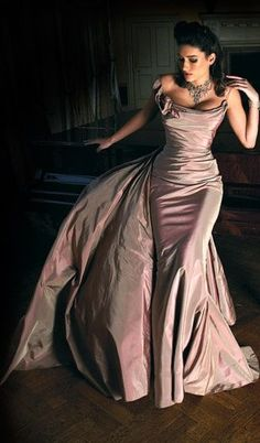 blush pink evening gown