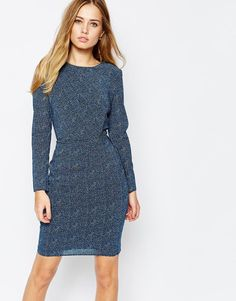 Image 1 ofWhistles Stretch Bodycon Dress in Double Dot