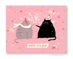 New Years Card Happy New Year Cat Card 2017 by jamieshelman