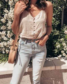 Spent the day celebrating all the mamas in my life in this cute little $35 cami.  http://liketk.it/2vK14 #springstyle #summerstyle button-up cami, nude cami outfit, casual summer style, casual jeans outfit for summer, light wash jeans for summer, women's outfit ideas for spring, spring style, neutral summer style, effortless summer style, nude circle crossbody, madewell style