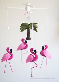 Pink Flamingo Baby Mobile Baby Girl Nursery by AContinualLullaby Flamingo Party, Flamingo Nursery, Flamingo Birthday, Flamingo Toy, Tropical Nursery, Baby Birthday, Girl Nursery, Nursery Decor, Baby Shower Parties
