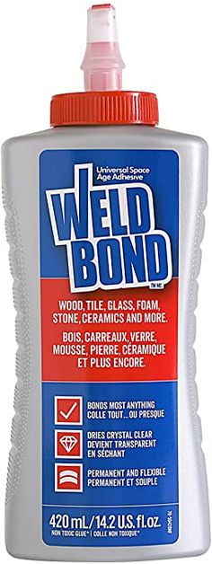 Weldbond Adhesive Glue is amazing for most applications. It's super adhesive, while at the same time cleans up with water, is non-toxic, nearly odorless, and dries clear while remaining flexible. This is the glue you want if your repair will remain visible. It works equally well on porous and non-porous surfaces. Weldbond is great on most plastics, wood, metal, tile, porcelain, fabric—items all of us have around our homes that need to be repaired from time to time. Cures fully in only 24 hrs. Elmer's Glue, Wood Glue, Mousse, Garage Sale Signs, How To Waterproof Wood, Wreath Making Supplies, White Acrylic Paint, Glue Crafts, Home Repairs