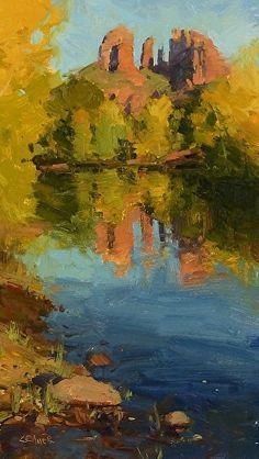 Across the River by Bill Cramer Oil ~ 14 x 8
