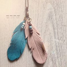 Necklace made from two polymer clay feathers in lovely teal and cappuccino color. Necklace is long 43 cm and pendant measures about 10 cm