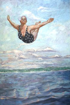 Swan Dive at the Beach - Artwork and Prints