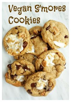 Chocolate chips, marshmallows and graham crackers combine to make a scrumptious vegan s'mores cookie.