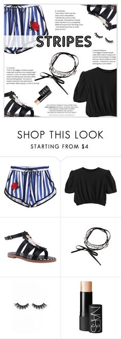 """Summer Look: Stripes"" by shambala-379 ❤ liked on Polyvore featuring Violet Voss and NARS Cosmetics"