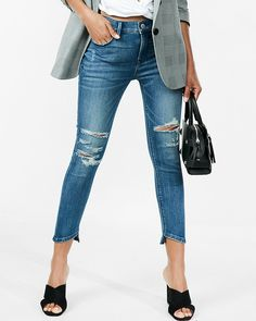 Mid Rise Distressed Stretch Cropped Jean Leggings