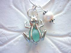 Sea Glass Necklace  Aqua Blue Frog Locket