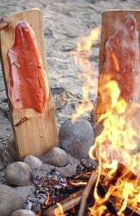 homestead back to nature - salmon on cedar plank - open fire