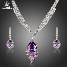 AZORA Elegant Purple Cubic Zirconia Water Drop Pendant Necklace and Earrings Jewelry Sets TG0164