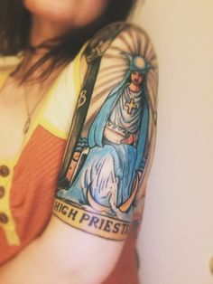 High Priestess tarot card tattoo. Half sleeve, pictured at just 48 hours old. By Stevie G at Pair-A-Dice Tattoo, in Anchorage, AK