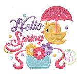 Hello Spring Bird Applique