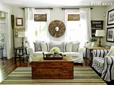 Paint color for living room? Style House-Rooms For Rent - City Farmhouse Sofa Design, Interior Design, Sofa Bar, City Farmhouse, Farmhouse Style, Farmhouse Decor, Coastal Farmhouse, Farmhouse Ideas, House Blinds