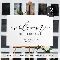 Printable Wedding Welcome Sign | Editable Template Welcome Sign | Black and White Calligraphy | Instant Download | Landscape Welcome Sign #weddingdecoration