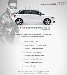 """Te presentamos a las 8 bandas ganadoras de """"Audi A1 Sportback Next Track by Alex Midi"""" ¡Gracias a todos por su participación!"""