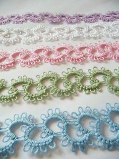 Handmade lace tatting by ShopGift on Etsy Tatting Armband, Tatting Bracelet, Tatting Jewelry, Tatting Lace, Shuttle Tatting Patterns, Needle Tatting Patterns, Freeform Crochet, Irish Crochet, Doilies Crochet