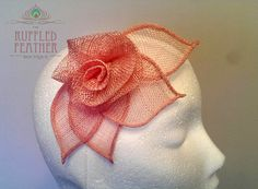 Sinamay rose fascinator hair clip head by TheRuffledFeatherBou                                                                                                                                                      More
